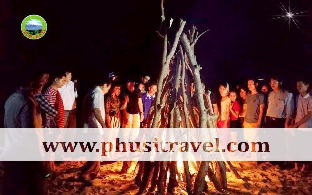 lửa trại - du lịch dao binh hung ninh chu